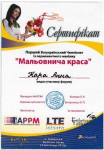 certificate of best permanent eyeliner