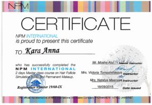 International Permanent Makeup certificate