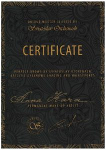 Permanent makeup artist certificate