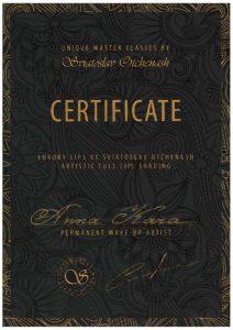 Anna Kara certificate best permanent eyebrows makeup