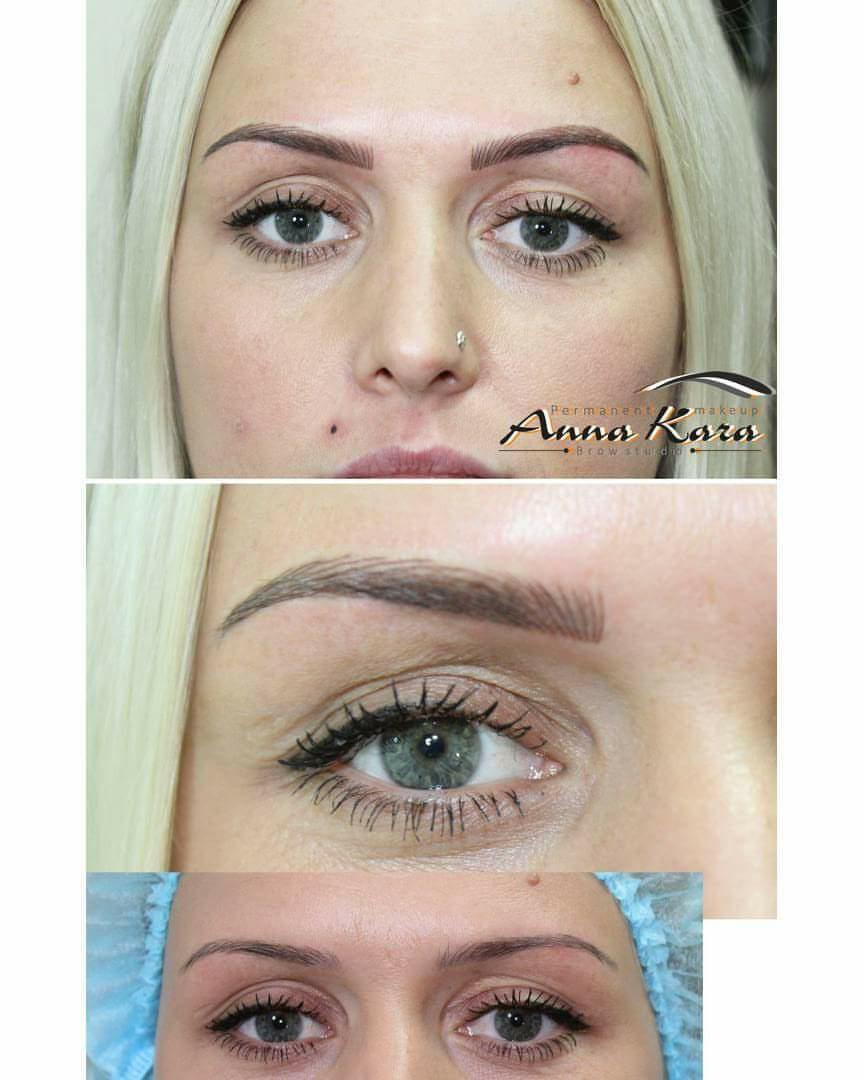 Blond girl with permanent eyebrows and eyeliner for Best eyebrow tattoo san diego